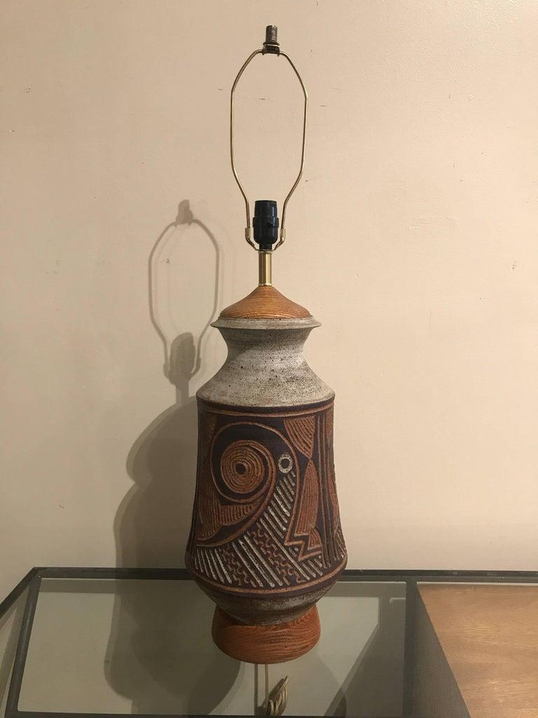 1970s California Ceramic Studio Craft Table Lamp 3