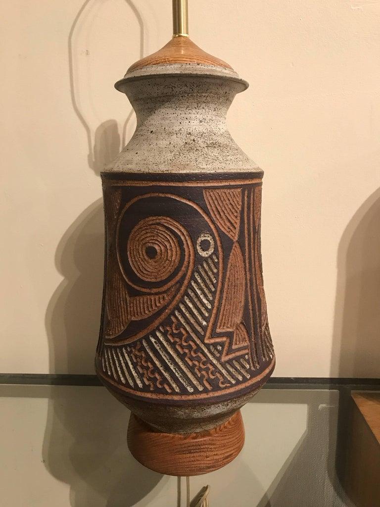 1970s California Ceramic Studio Craft Table Lamp 5