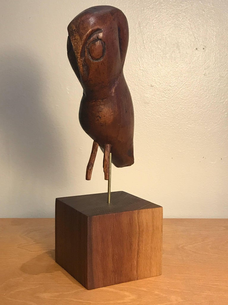 Folk Art Wooden Owl Americana Craft, Late 19th-Early 20th Century 6