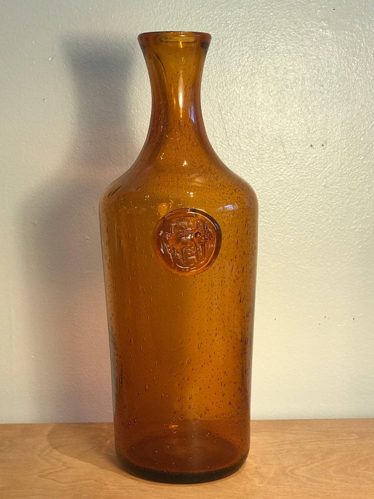 Erik Hoglund Amber Glass Bottle with Cat Motif, 1960s Vintage Swedish Modern 7