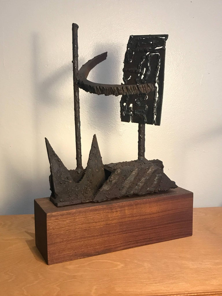 1970s Torch Cut Iron Brutalist Abstract Sculpture 3