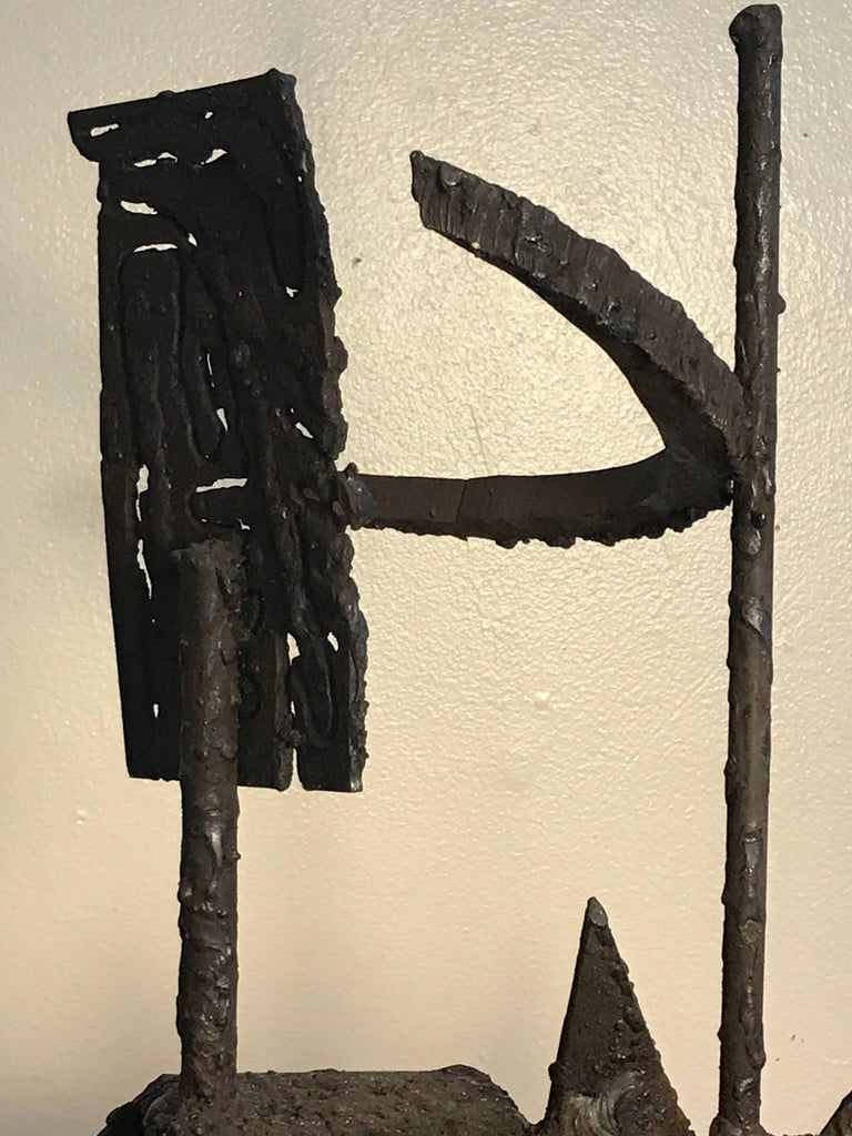 1970s Torch Cut Iron Brutalist Abstract Sculpture 6
