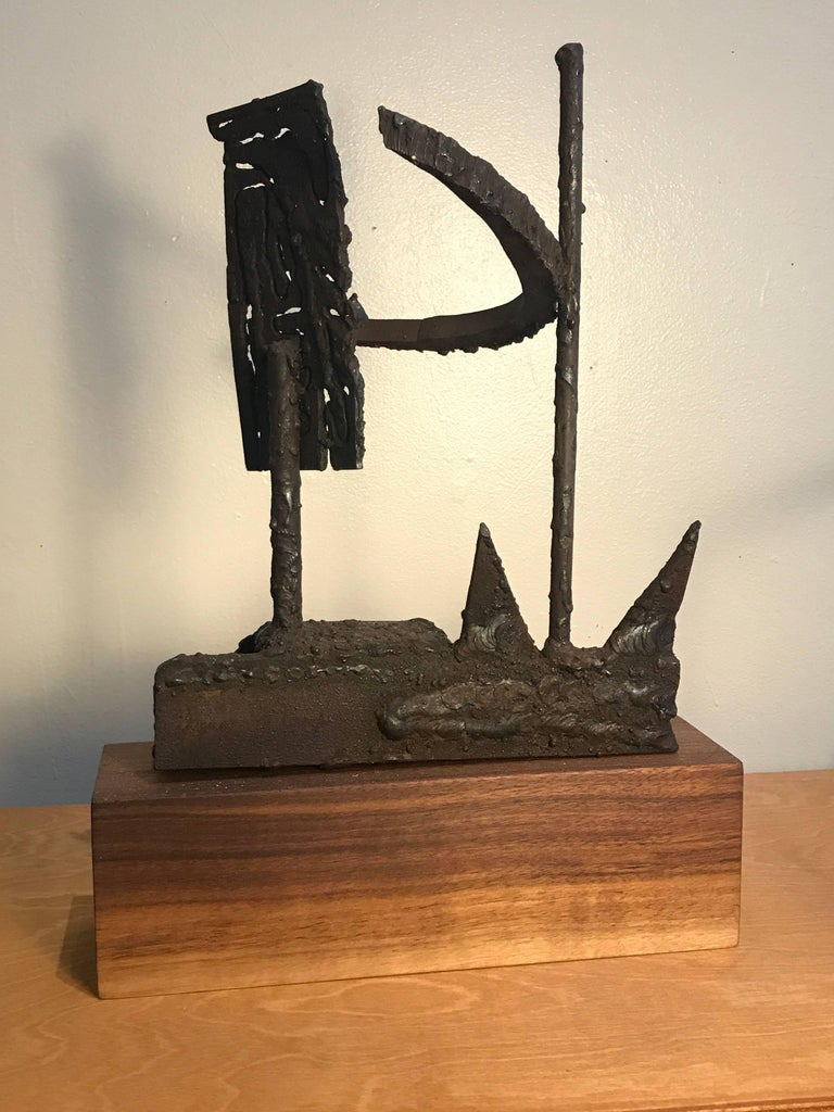 1970s Torch Cut Iron Brutalist Abstract Sculpture 5