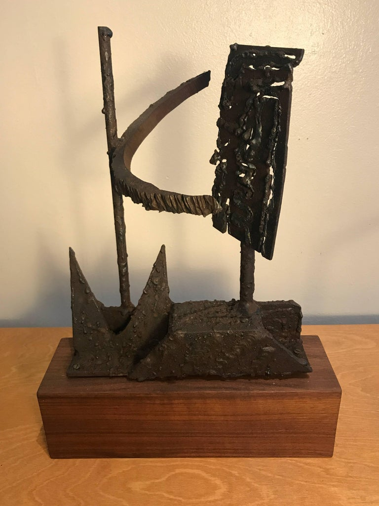 1970s Torch Cut Iron Brutalist Abstract Sculpture 9