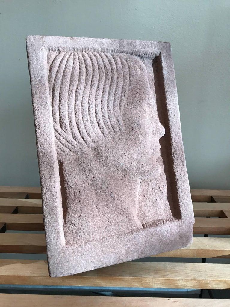 Ruth Cravath Carved Sand Stone Sculpture, Portrait, 1930s, Bay Area Artist 10
