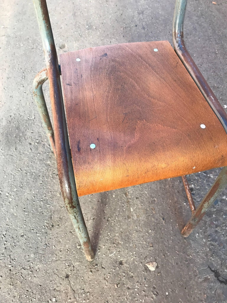 1950s French Modernist  Industrial Side Chair 8