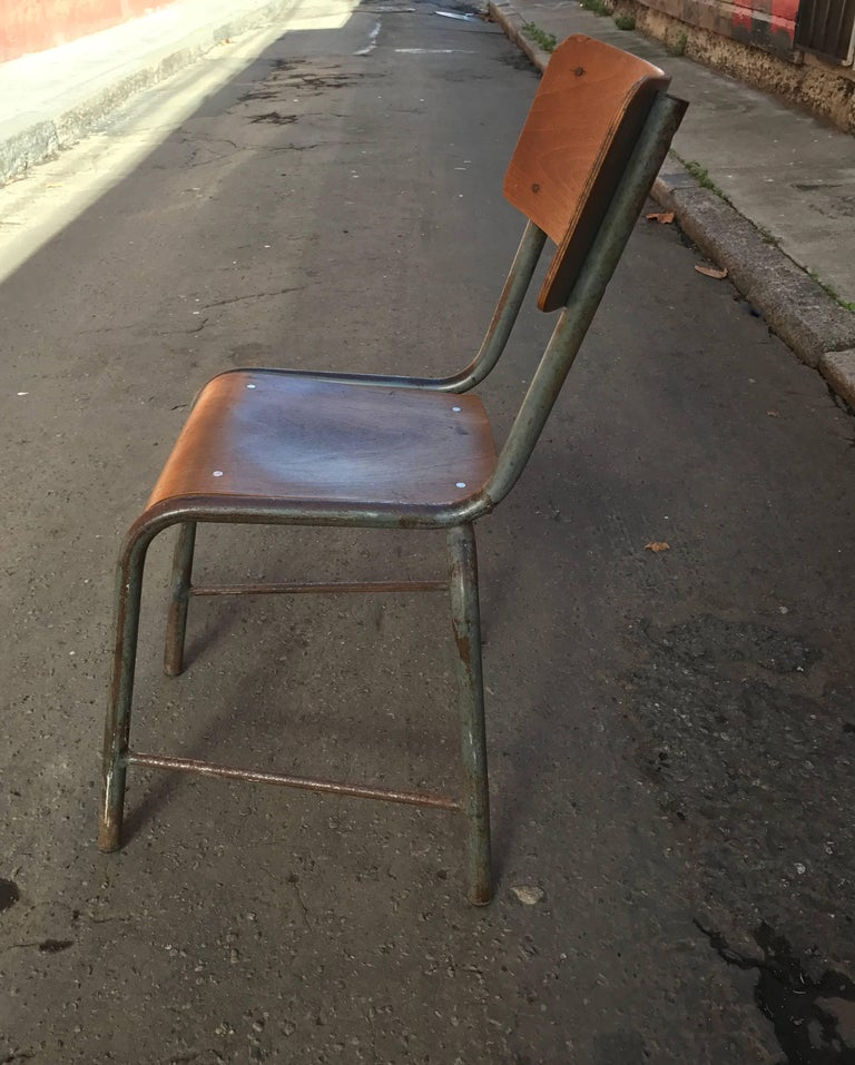 1950s French Modernist  Industrial Side Chair 6