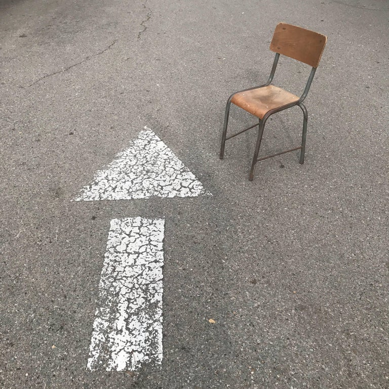 1950s French Modernist  Industrial Side Chair 9