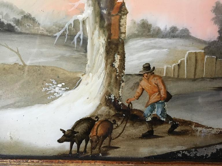 Folk Art Small Églomisé Genre Painting, Early 19th Century For Sale