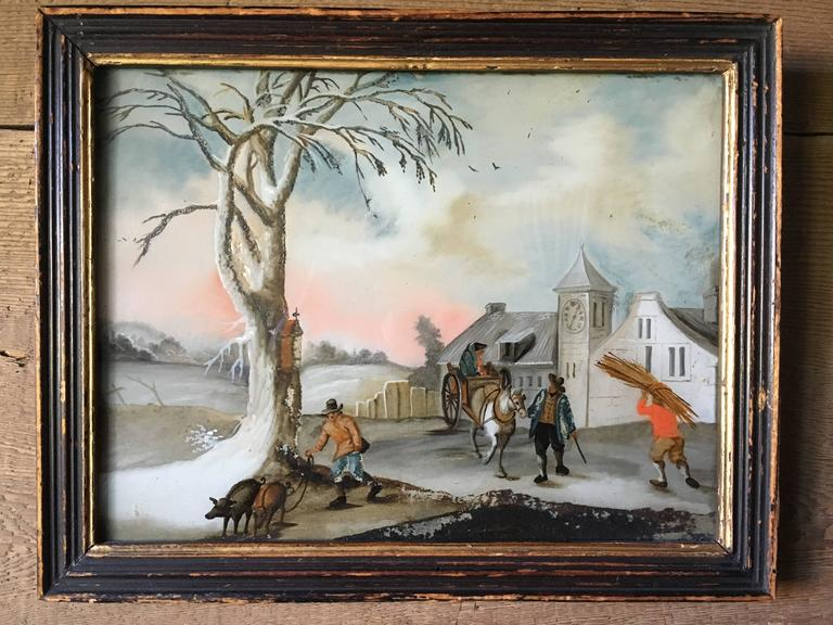 Small Églomisé Genre Painting, Early 19th Century In Good Condition For Sale In Doylestown, PA