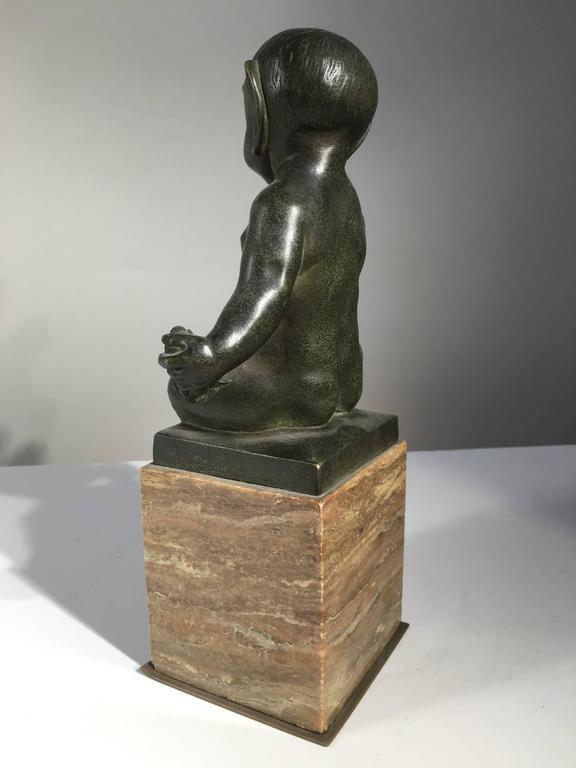 Romantic Seated Faun Bronze, Marcel-Andre Bouraine, circa 1930 For Sale