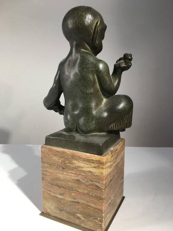 Seated Faun Bronze, Marcel-Andre Bouraine, circa 1930 In Excellent Condition For Sale In Doylestown, PA