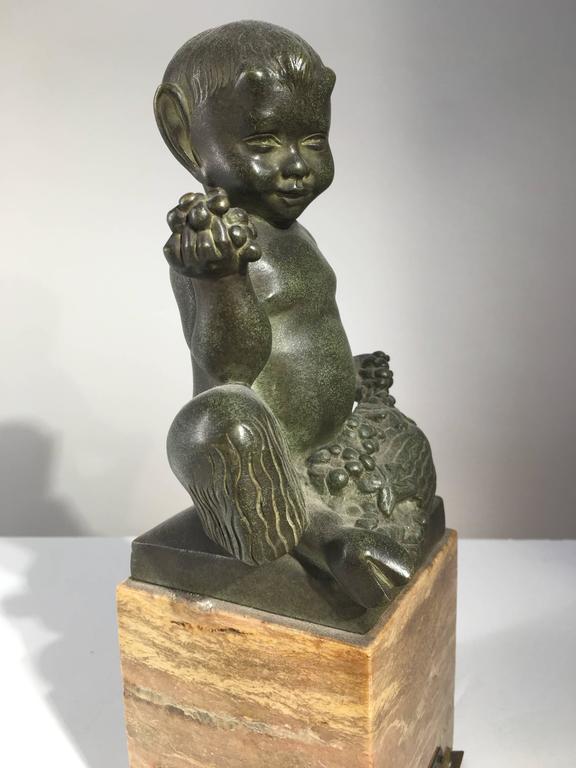 20th Century Seated Faun Bronze, Marcel-Andre Bouraine, circa 1930 For Sale