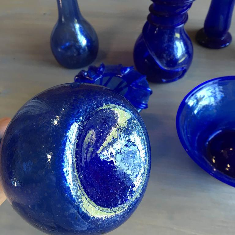 Collection Of Cobalt Blue Blown Glass From Afghanistan For Sale At