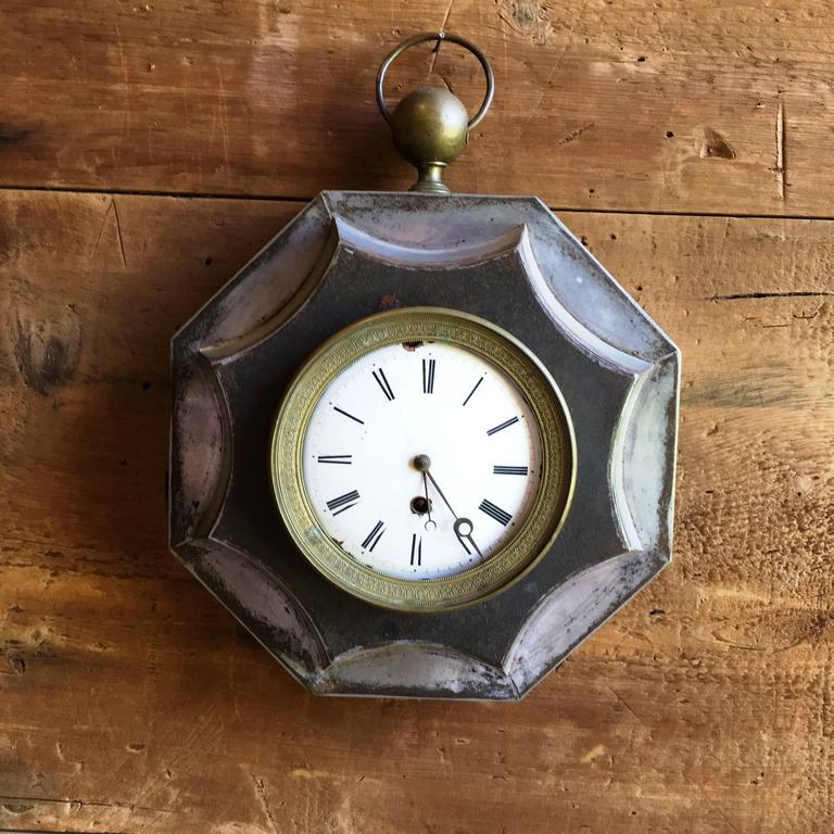 Brass French Empire Tole Wall Clock, 19th Century For Sale