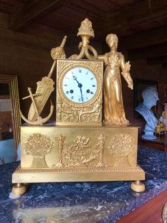 19th C. French Figural Mantel Clock, Maritime Theme