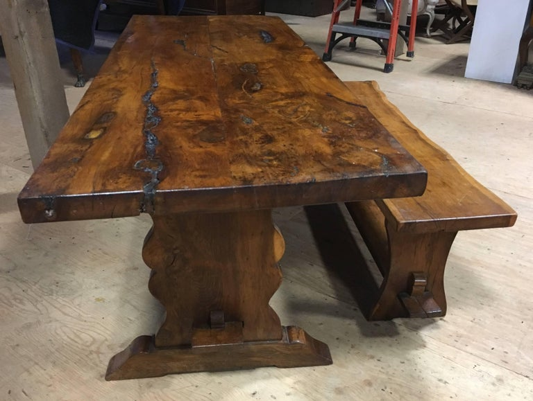 Yew Wood Slab Top Trestle Table For Sale at 1stdibs : newitems255master from www.1stdibs.com size 768 x 579 jpeg 75kB