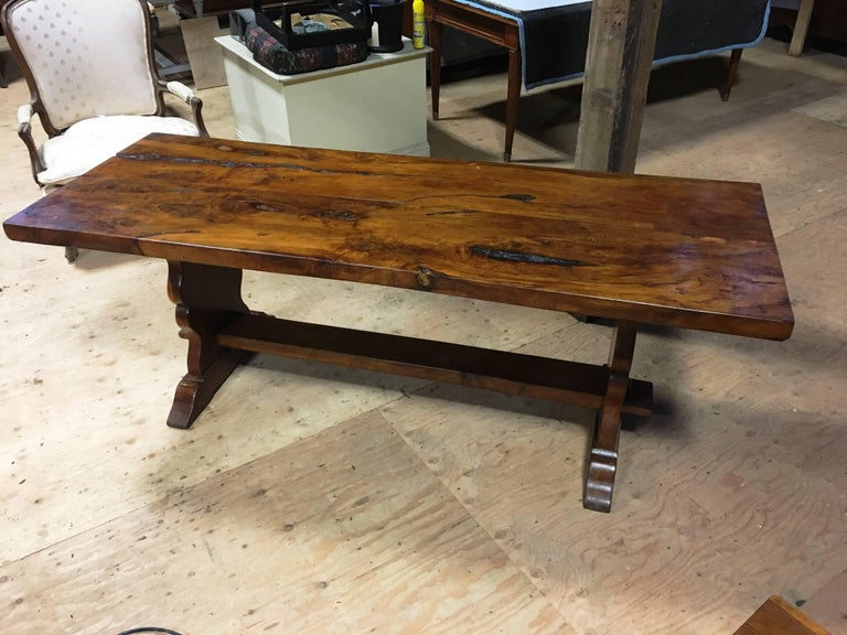 Yew Wood Slab Top Trestle Table For Sale at 1stdibs : newitems265master from www.1stdibs.com size 768 x 576 jpeg 82kB