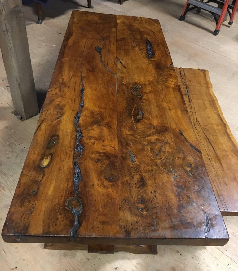 Yew Wood Slab Top Trestle Table For Sale at 1stdibs : newitems254master from www.1stdibs.com size 768 x 875 jpeg 126kB