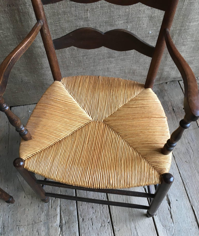 Pair of French Provincial Armchairs with Rush Seats For Sale 1