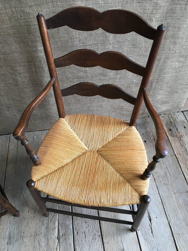 Beech Pair of French Provincial Armchairs with Rush Seats For Sale