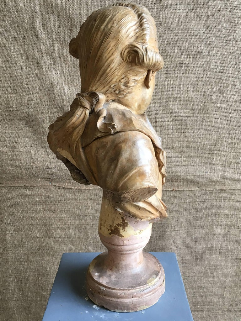 French Terracotta Bust of a Nobleman, Attributed to Houdon For Sale 1