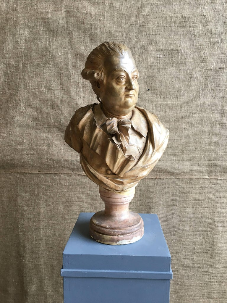 Louis XVI French Terracotta Bust of a Nobleman, Attributed to Houdon For Sale