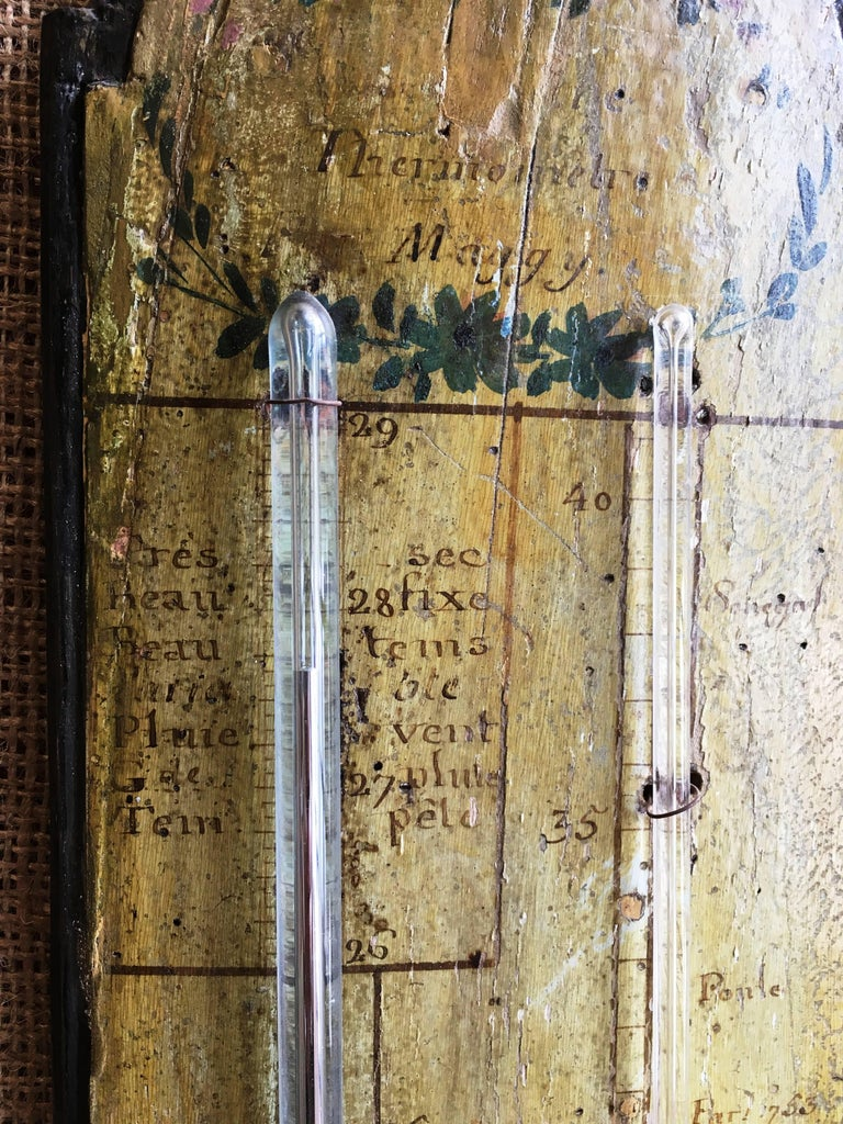 Wood 18th Century French Provincial Barometer and Thermometer For Sale