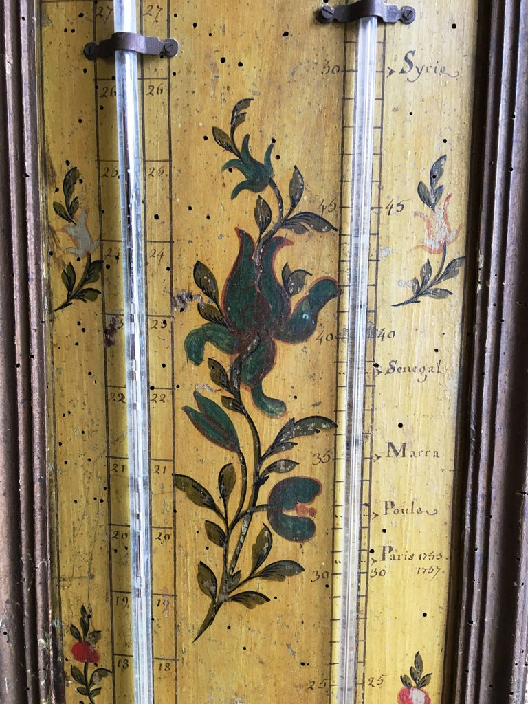 Painted 18th Century Louis XVI Period Thermometer and Barometer For Sale