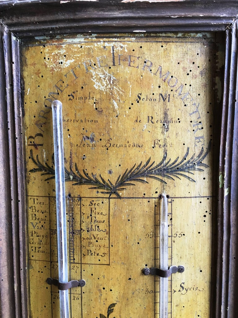 French 18th Century Louis XVI Period Thermometer and Barometer For Sale