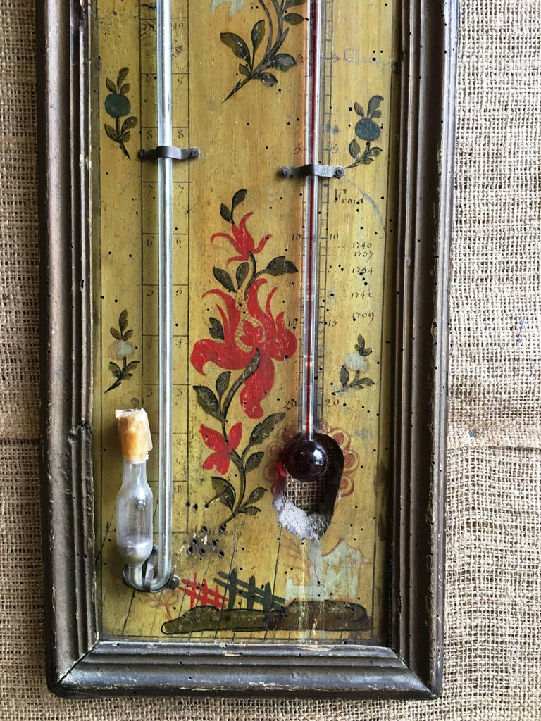 Wood 18th Century Louis XVI Period Thermometer and Barometer For Sale