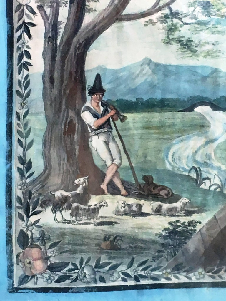 French Provincial Painted Scene of a Shepherd, 18th Century For Sale 2