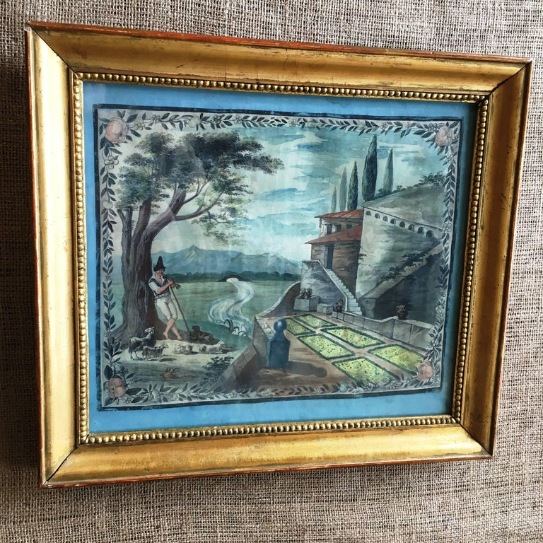 French Provincial Painted Scene of a Shepherd, 18th Century In Excellent Condition For Sale In Doylestown, PA