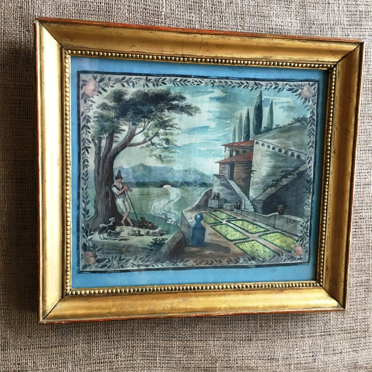 French Provincial Painted Scene of a Shepherd, 18th Century For Sale 3
