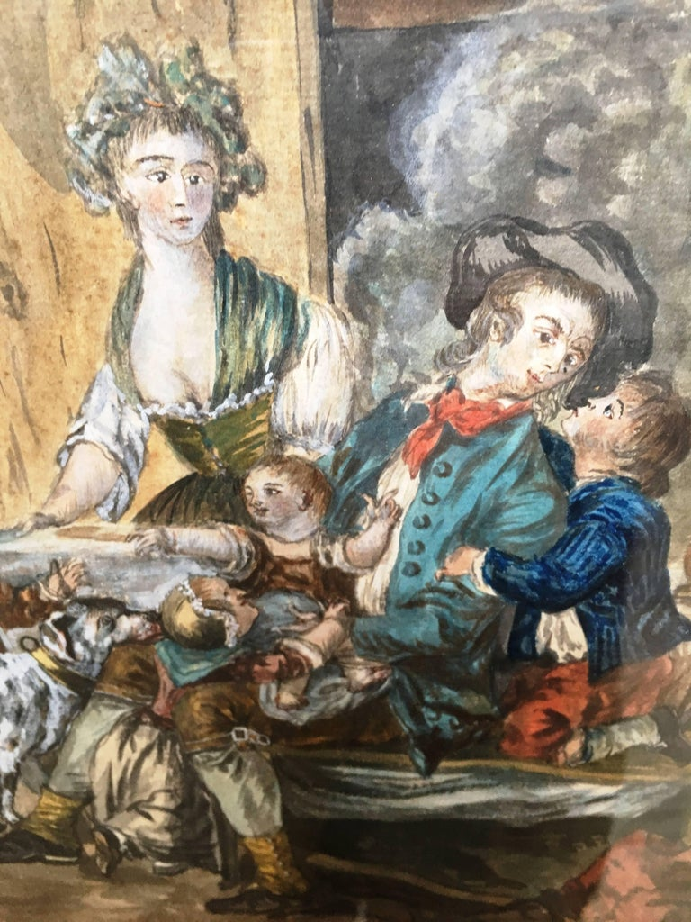 18th Century French Provincial Painting of an Interior In Excellent Condition For Sale In Doylestown, PA
