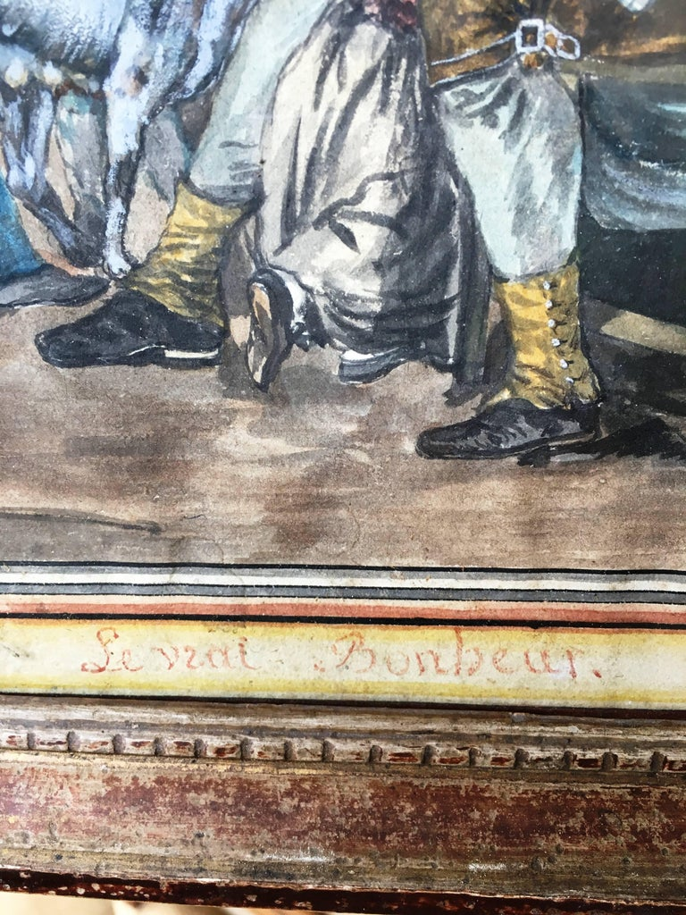 Painted 18th Century French Provincial Painting of an Interior For Sale