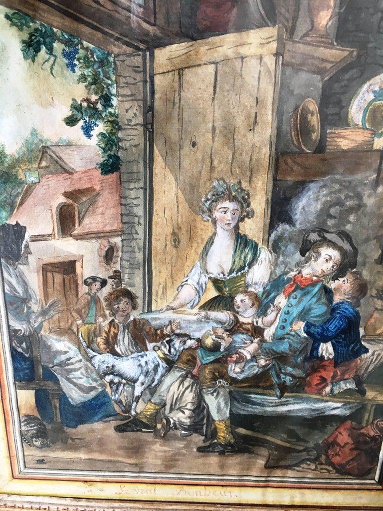 A charming 18th century gouache painting of a provincial interior showing a family with children and pets, under glass in a period giltwood frame. Titled: Le Vrai Bonheur (True Happiness).