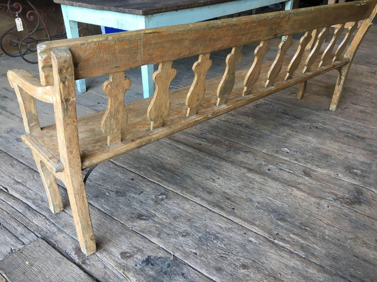 19th Century French Painted Hall Bench For Sale 3