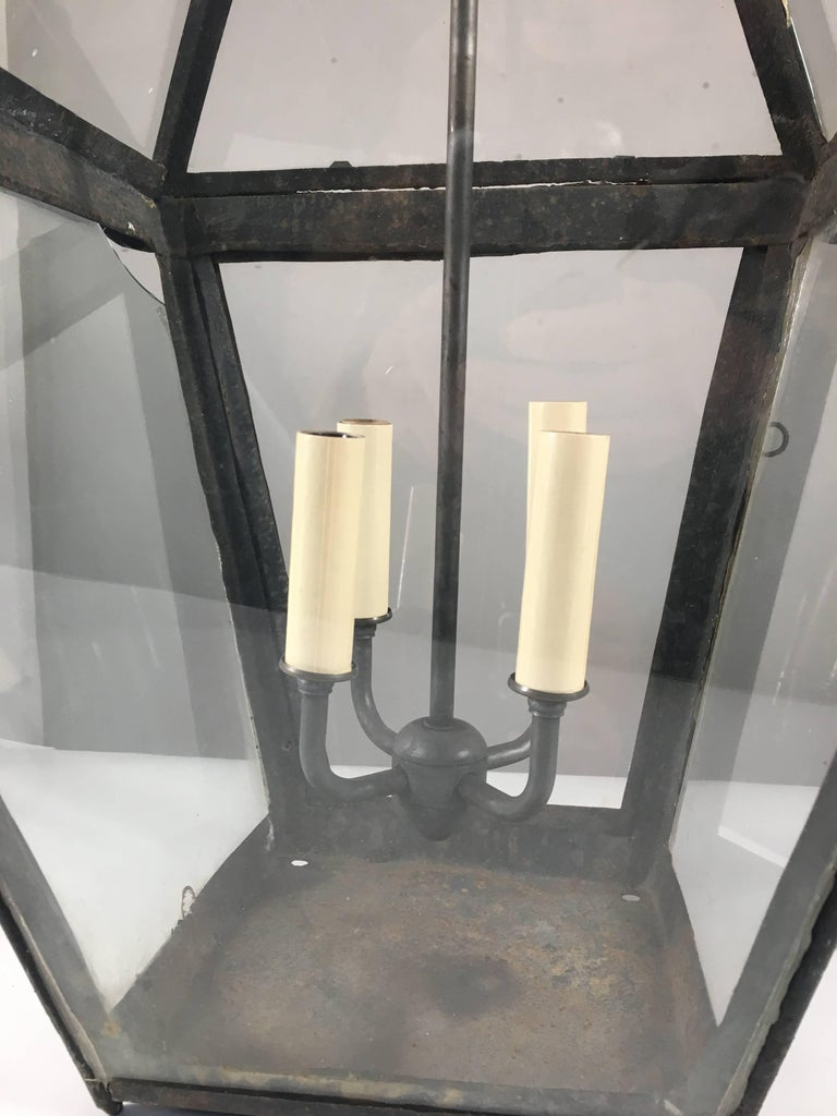 Large 18th Century Tole Lantern, Electrified For Sale 1