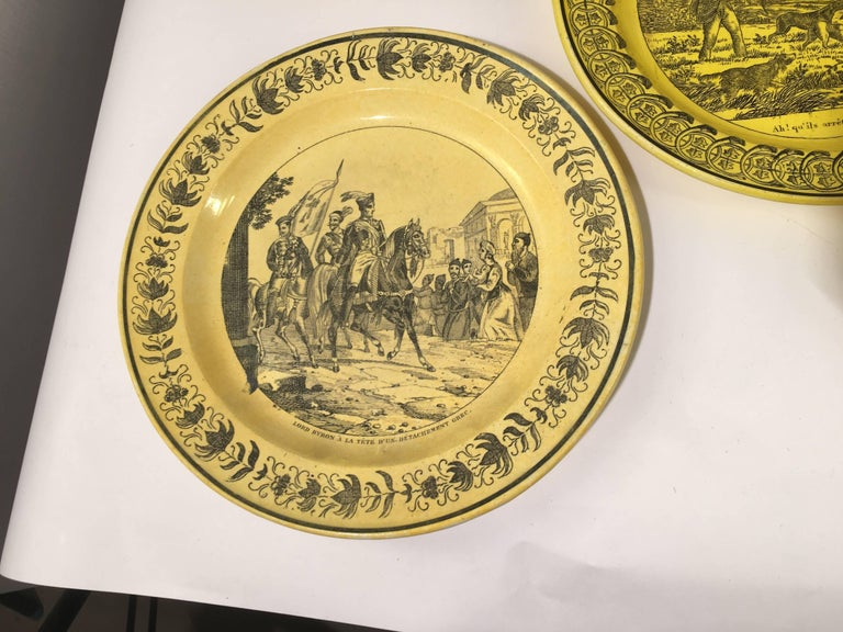Group of Eight Yellow Creil et Montereau Plates, French Empire For Sale 5