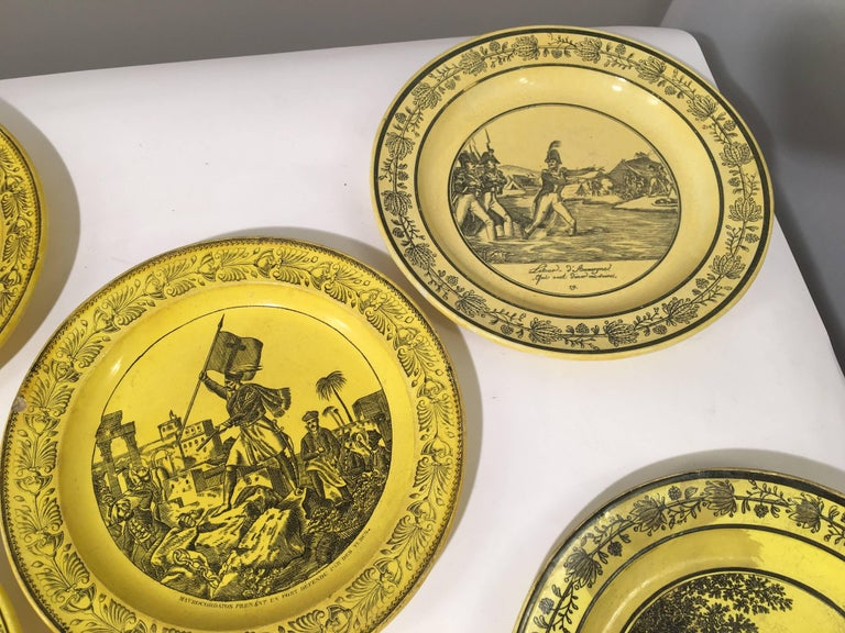 Group of Eight Yellow Creil et Montereau Plates, French Empire For Sale 3
