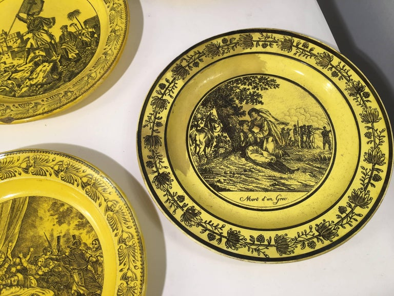 Group of Eight Yellow Creil et Montereau Plates, French Empire For Sale 2