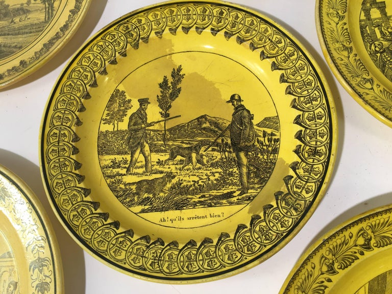Faience Group of Eight Yellow Creil et Montereau Plates, French Empire For Sale