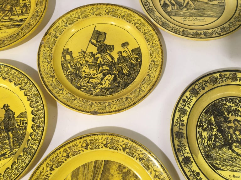 Group of Eight Yellow Creil et Montereau Plates, French Empire For Sale 4