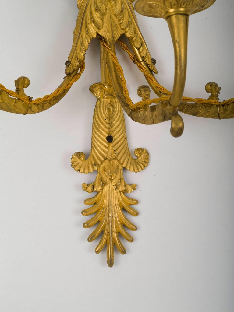 Set of Four Empire Ormolu Three-Light Wall Sconces, Attributed to Ravrio In Excellent Condition For Sale In Boston, MA