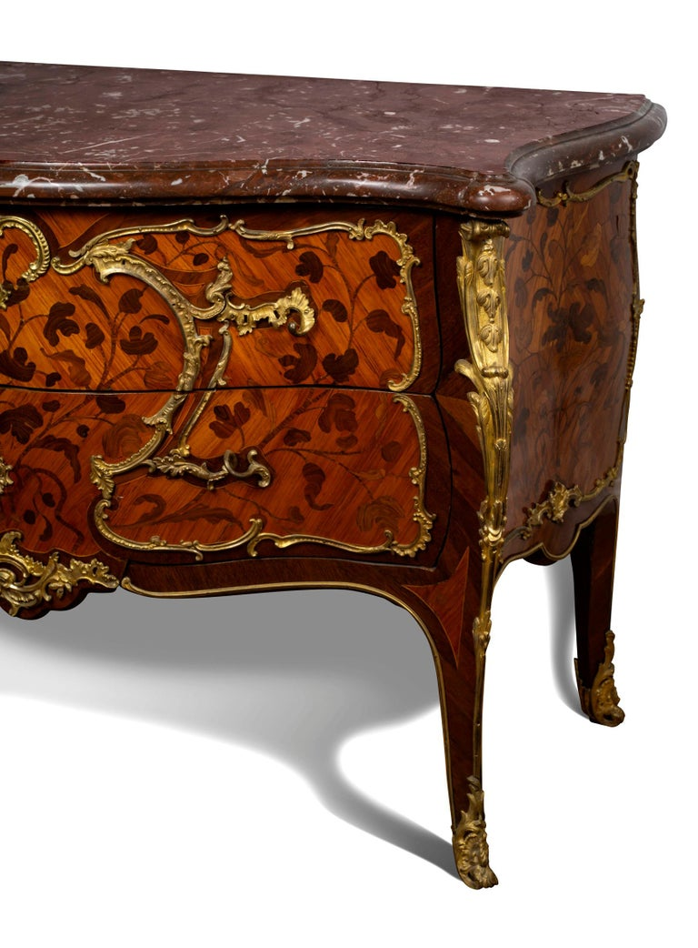 French Louis XV Ormolu-Mounted Tulipwood and Bois de Bout Commode Stamped Chevallier For Sale