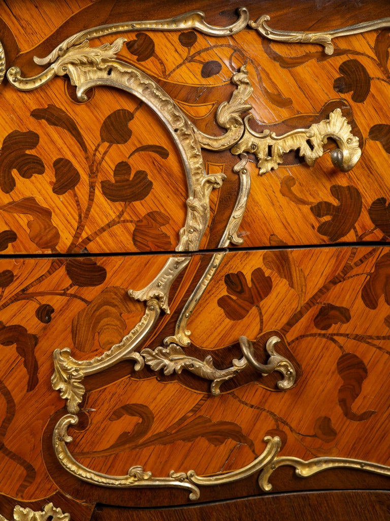Louis XV Ormolu-Mounted Tulipwood and Bois de Bout Commode Stamped Chevallier In Good Condition For Sale In Boston, MA