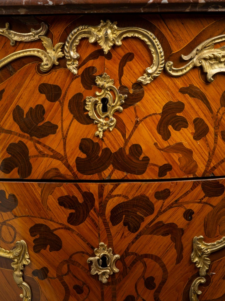 18th Century Louis XV Ormolu-Mounted Tulipwood and Bois de Bout Commode Stamped Chevallier For Sale