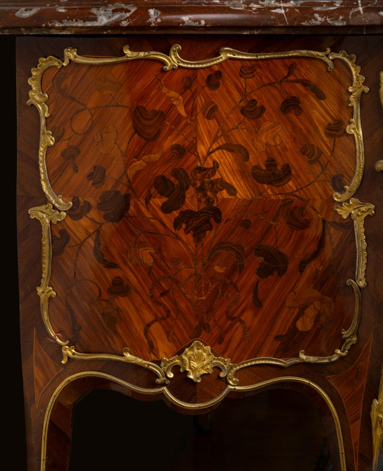 Louis XV Ormolu-Mounted Tulipwood and Bois de Bout Commode Stamped Chevallier For Sale 4