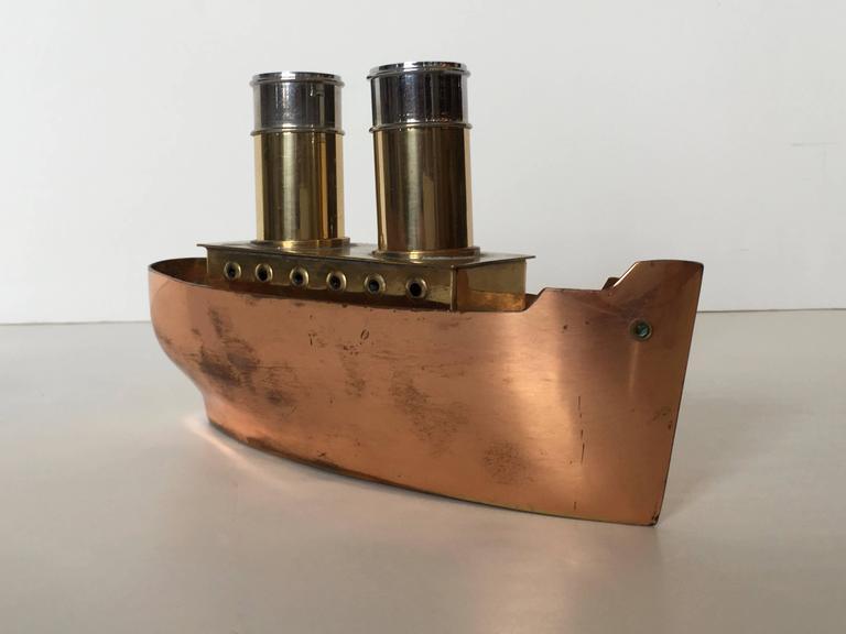 Unusual Vintage Steamship Salt And Pepper Shaker Set At